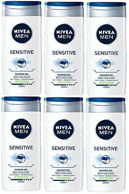 Nivea Men Shower Gel Sensitive 3in1 for Body Face Hair 6 x 250ml Alcohol-Free
