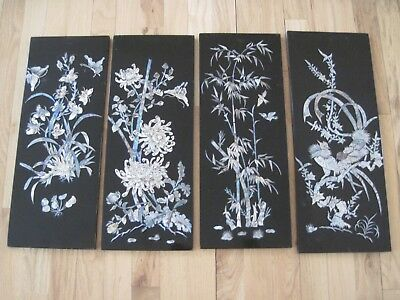 4 Vintage Antique Oriental Lacquer Mother Of Pearl Panel Wall Hangings