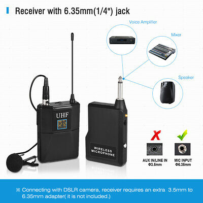 50 channels UHF Wireless Microphone System Lavalier Lapel Mic For DSLR Camera
