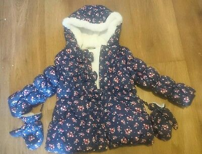 Girls Navy Floral Padded Winter Coat With Mittens Age 3 - 4 Years