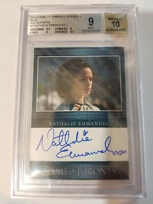 Game of Thrones Season 4 Nathalie Emmanuel as Missandei Blue Auto BGS 9/10
