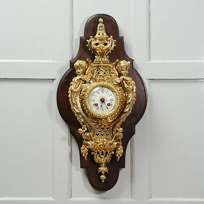 Antique French Ormolu Cartel Wall Clock by Maison Bagues Paris Fully Working