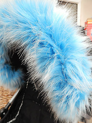 Pram Pushchair Baby Blue Faux Fur Hood Trim - Fits All Hoods  - Stunning