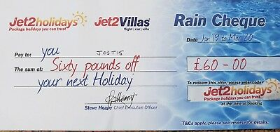 10 X Jet2 Holidays £60Rain Cheque voucher valid till March 2020 EXPIRE JUNE 2019