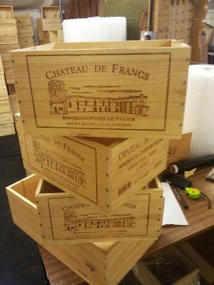 3 x DOUBLE SIDED FRENCH CRESTED 6 BOTTLE WOODEN WINE CRATE BOX STORAGE DRAWER.