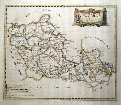 BERKSHIRE, Robert Morden, original antique hand coloured map 1722