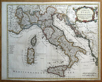 ITALY, With its Kingdoms,States &c,  R.W.Seale hand coloured antique map 1745
