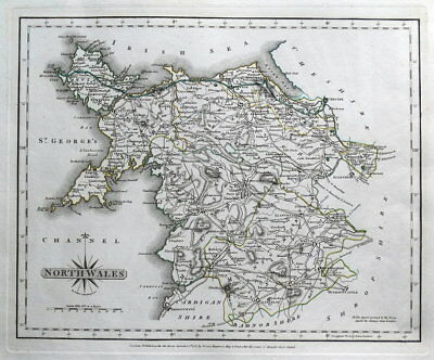 NORTH WALES, John Cary original antique map 1787