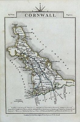 CORNWALL John Cary Original Hand Coloured Miniature Antique County Map 1819