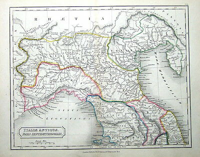 ITALY, NORTH ,GULF OF GENOA TO  PIOMBINO  Original Classical Antique Map c1840