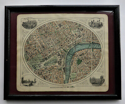 Small map of Central London c1923 framed by G W Bacon