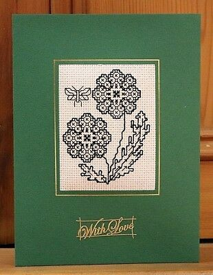 """Handmade Completed Cross Stitch Card With Love Blackwork Flowers Butterfly 8""""x6"""""""