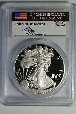 2015 W PCGS PR70DCAM Silver Eagle First Day Issue DC Mercanti #663 Spots
