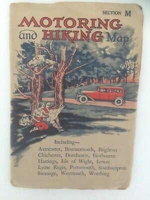 Motoring and Hiking map section M including Axminster,Dorchester,Portsmouth.
