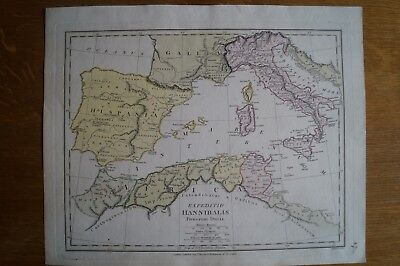 Antique Map of the S Mediterranean in Roman times by Robert Wilkinson 1803