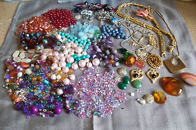 Large Job Lot Crystal AB Gem Stone Beads plus Craft Repair Vintage Jewellery