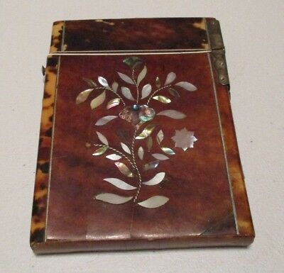 Antique Victorian Faux Shell Mother Of Pearl Inlaid Card Case Hard To Find Item