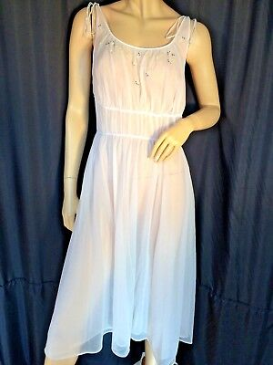sheer Pink vintage Negligee nightgown M sexy Sissy pinup ❤️ fit & flare Carters