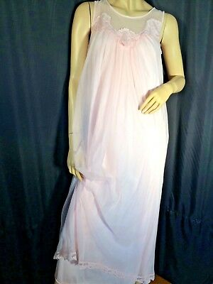 vintage Pink pinup Negligee nightgown Sheer sexy Chemise long 60's ❤️ Sissy S