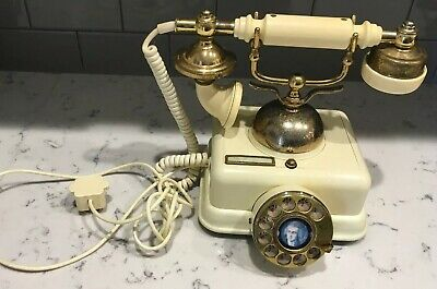 Vintage Rotary Dial Telephone Made In Korean White W Brass Accents