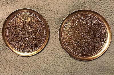 Pair Antique Art Deco Solid Sterling Silver Niello Drink Coasters  Made In Siam