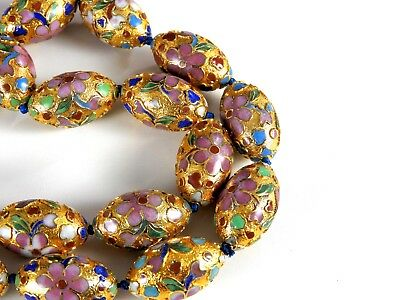 Rare Necklace Huge Vintage Chinese Export Oval Beads Cloisonne Enamel