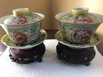 Antique Chinese Porcelain Tea Cups Pair w/ Wood Bases