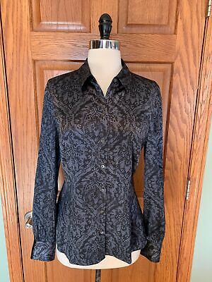 3c24e968d8aad3 ANN TAYLOR SILK Stretch Shirt 6 Black Gray Paisley Blouse Top Career ...