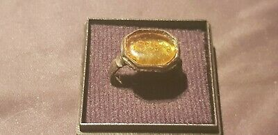 Stunningly beautiful Viking bronze, Amber ring. A must read description. L72x