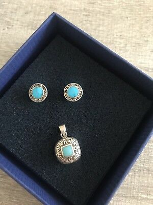 Silver 925 Turquoise Set Earring And Pendant