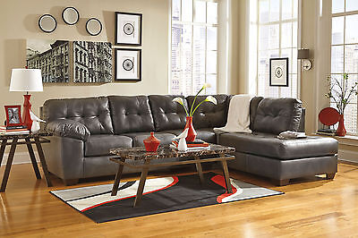 BROOKLYN MODERN SECTIONAL Living Room Couch Set Gray Bonded ...