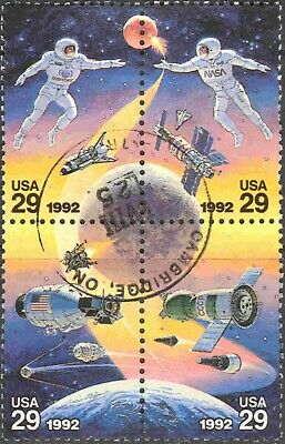 1992 U.S.A. #2634a Complete Used Block of 4 Space Exploration