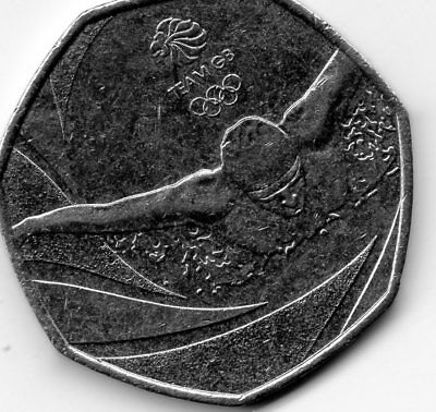 2016 50P COIN TEAM GB RIO OLYMPIC SWIM RARE FIFTY PENCE Circulated SWIMMING !