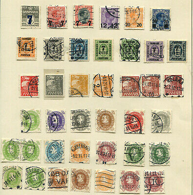 Denmark : Page of stamps : High cv : examine carefully to appreciate
