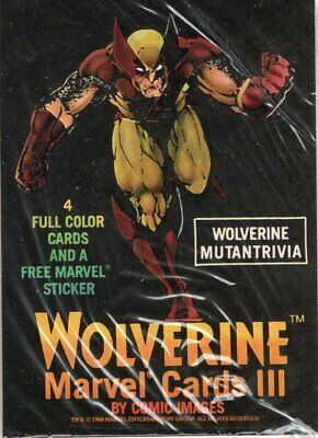 Wolverine Mutantrivia 1988 Marvel Cards III Pack Of 4 Cards & 1 Sticker Sealed