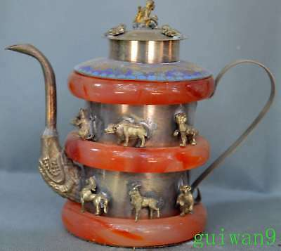Old Collectable Miao Silver Carve 12 Zodiac Inlay Jade Annulus King Use Teapot