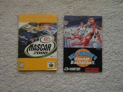 Two Nintendo Manuals - NASCAR 2000 and Bill Laimbeer's Combat Basketball
