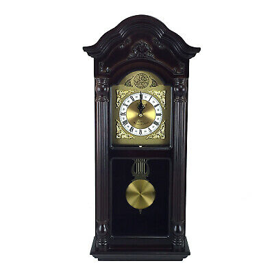 "Bedford Clock 25.5"" Antique Mahogany Cherry Oak Chiming Wall Clock Roman Numeral"