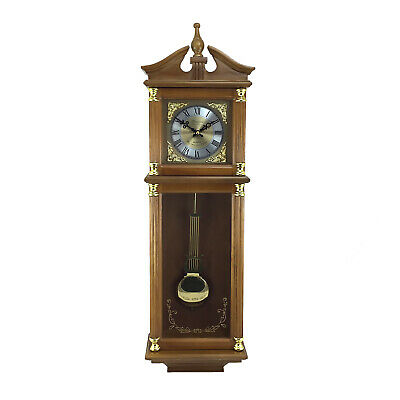 "Bedford Clock 34.5"" Antique Chiming Wall Clock with Roman Numerals Harvest Oak"