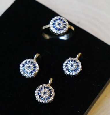 Turkish Handmade Jewelry Sterling Silver 925 Sapphire Ring Earring Set 7.5