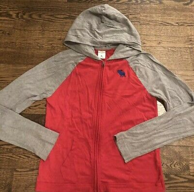 Boys Abercrombie & Fitch Kids ZIP UP Hooded Sweatshirt Preowned-XL-RED/GRAY