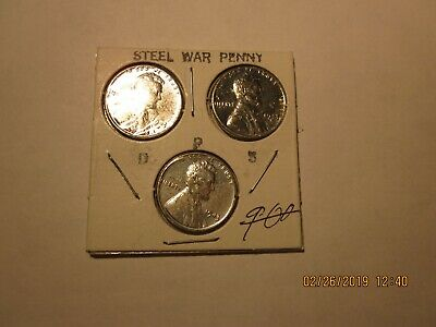 1943 PDS Set Lincoln Wheat Steel Cent Unc
