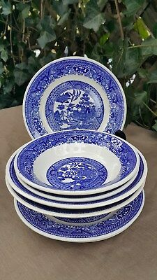 Lot of 8 Willow Type Bowls and Plates