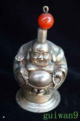 Collectable Miao Silver Carve Buddha Old Chinese Ancient Exorcism Snuff Bottle