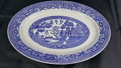 Petrus Regout Maastricht BLUE WILLOW  Platter, Made in Holland