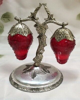 Vintage Retro Salt & Peppers Shakers – Strawberries on a stand