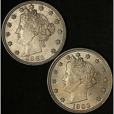 1883 & 1903 Liberty Head V Nickel Lot - Free Shipping USA