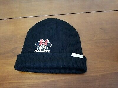 NEFF Disney Collection Mickey Minnie Mouse Cuffed Beanie Cap Hat Gray Black NWT