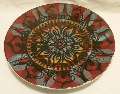 Poole Pottery Delphis Charger Orange With  Green , Red, Orange & Black & Signed