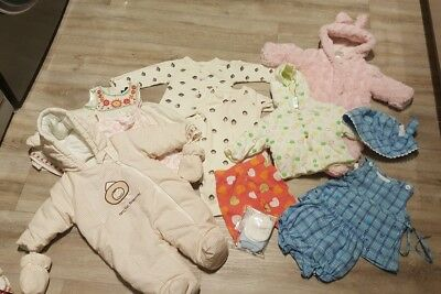 Small bundle of baby girls clothes 0-3 months snowsuit